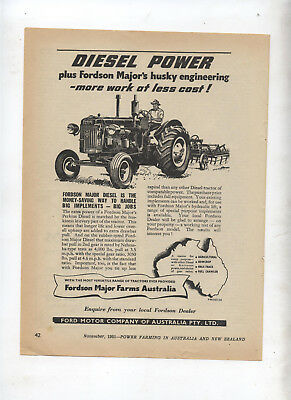 Fordson Major Diesel Tractor Advertisement removed from 1951 Farming Magazine