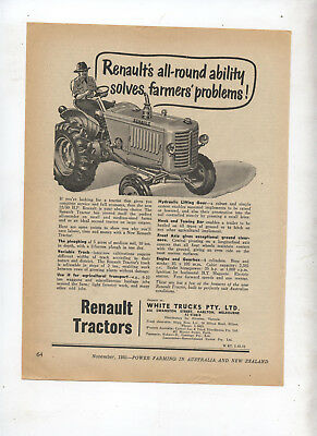 Renault Tractor Advertisement removed from 1951 Farming Magazine