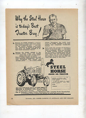 Steel Horse Tractor Advertisement removed from 1951 Farming Magazine