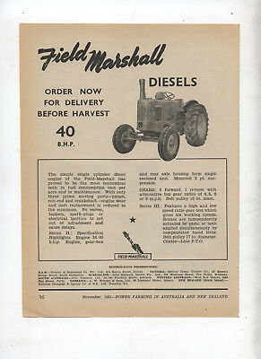 Field Marshall Tractor Advertisement removed from 1951 Farming Magazine