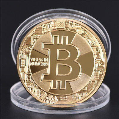 1Pc Gold Plated Bitcoin Coin Collectible Gift BTC Coins Art Collection Physical