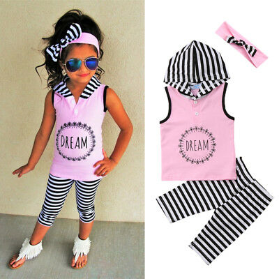 Fashion Kids Baby Girl Stripes Hoodie Top T-shirt Pants Leggings Outfits Clothes