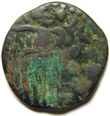 """INDIA C. 985-1014 AD """"OCTOPUS MAN"""" COPPER DRACHM COIN! sku #OM7"""