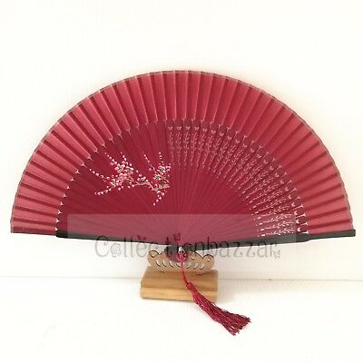 wine Red Chinese Bamboo Folding Silk HAND FAN with Flowers Wedding Party Gift