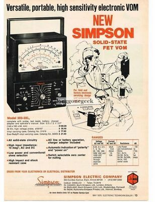 1976 Simpson 303-3XL FET VOM Multimeter Test Equipment Vtg Print Ad