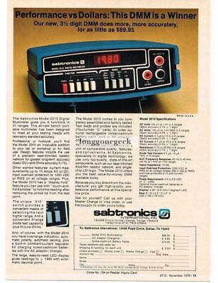1978 Sabtronics 2010 Digital Multimeter Vtg Print Ad