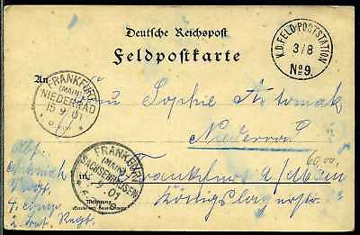 DP China Karte Feldpoststation No 9 aus Peithaho  Frankfurt  1901