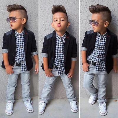 Cute Baby Boys Black Coat Shirt Blazer Coat Pants Trousers Outfits Clothes SS