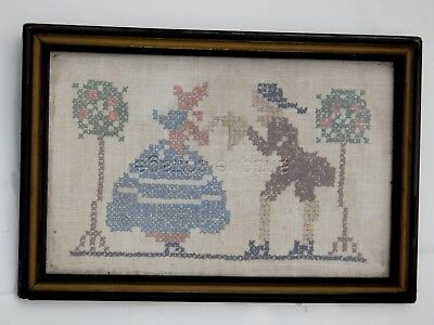 antique CROSS STITCH SAMPLER colonial southern belle gentleman Wood Frame Prim