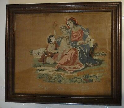 1800s antique CHILD JESUS MARY john baptist CROSS STITCH SAMPLER w Wood Frame