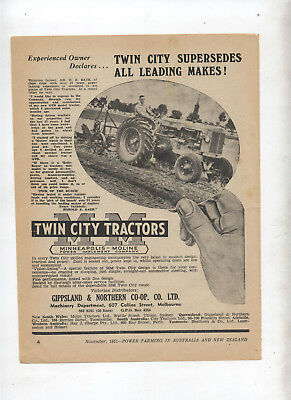Twin City Tractor Advertisement removed from a 1951 Farming Magazine