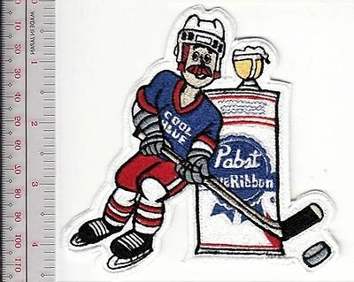Beer Hockey Pabst Blue Ribbon Cool Blue Star 1970's Promo Patch Milwaukee Vel ho