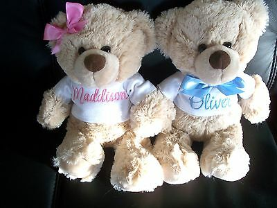 Personalised Teddy Bear Baby Gift Any Name 26cm Blue OR Pink  Birthday/  Twins