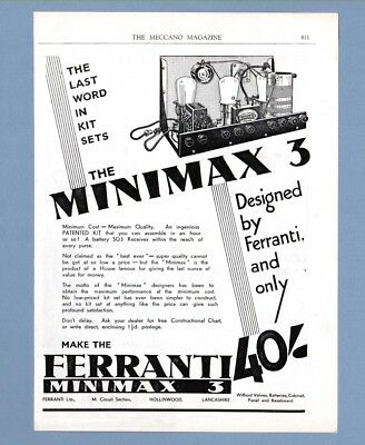 FERRANTI MINIMAX 3 Patented Kit Battery SG3 Radio Receiver (1932 Advertisement)