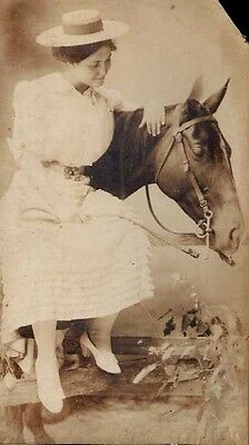 SENSUAL GIRL & BELOVED HORSE! Antique 1890s PHOTO! Large! VICTORIAN!! ARTISTIC!