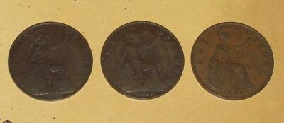 Lot of 3 Great Britain One Penny Three Cents 1912,1918,1928 EF Coins KM 810 UK
