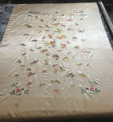 Antique Chinese Splendid Silk Hand Embroidery Wedding Sheet Piano Shawl Tapestry