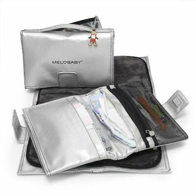 Melobaby All-In-One Nappy Wallet and Change Mat (Silver Wallet/ Charcoal Mat)