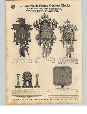 1929 PAPER AD Black Forest Cuckoo Quail Wall Clock Waterbury Daintie Lever