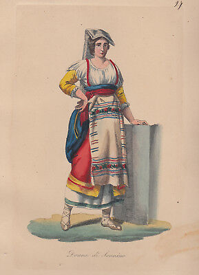 Donna di Sonnino Roma acquaforte acquarellata, Salvatore Marroni, 1840