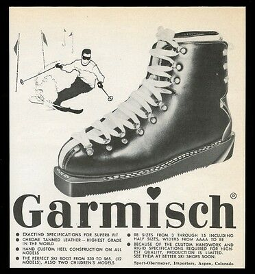 1960 Sport-Obermeyer Aspen Garmisch ski boot photo vintage print ad
