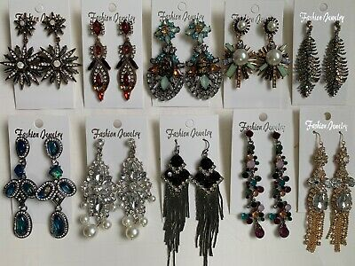 Wholesale Lot of 10 Pairs of Statement Earrings Rhinestone  New #15
