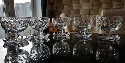 Set of 5 stunning Royal Brierley Crystal sundae/dessert Glasses. 1024