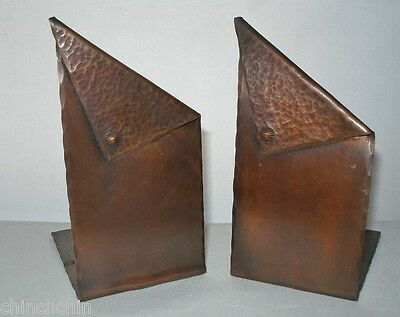 Incredible ARTS and CRAFTS Folded COPPER Hand Hammered BOOKENDS Outstanding PAIR