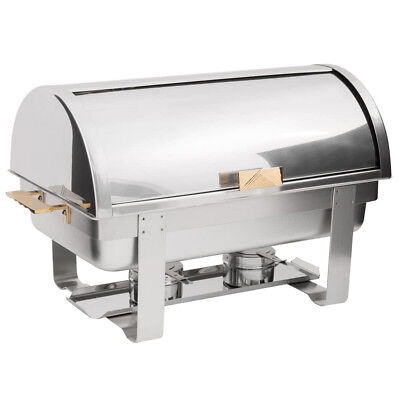 Roll Top Chafer Chafing Dishes Stainless Steel 8 Qt Full Size Buffet Deluxe