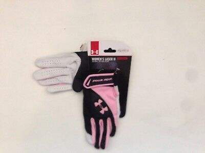 New Under Armour Women's laser II Softball batting glove Large black pink white
