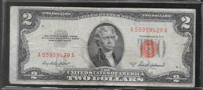 Series Of 1953 A Circulated $2 United States Note A55959429A