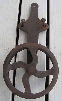 "Antique X-Large Iron Barn Door Roller Large 9"" Wheel Moves Freely"