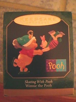 Skating With Pooh - Miniature Winnie The Pooh with Piglet - Hallmark Orn 1999