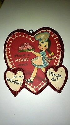 Vintage Valentine's Day  Card Glitter Wood  Ornament Waitress Have A Heart