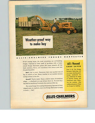 1953 PAPER AD Forage Harvester Allis-Chalmers Weather-Proof Milwaukee Tractor