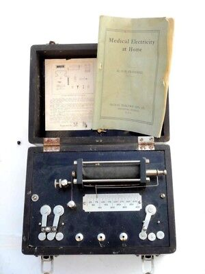 antique HOME ELECTRICITY QUACK MEDICINE MACHINE attachments,manual,2 batteries