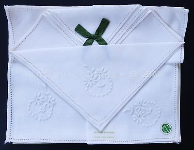 vintage antique 3pc IRISH LINEN HAND EMBROIDERED HANKIES w TAG RIBBON floral #2