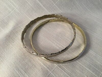 Pair (2) Vintage Sterling Silver Bangle Bracelets