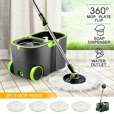 360 Degree Spin Mop Rotating and Bucket Set w/ Wheels and 4 Microfiber Mop Heads