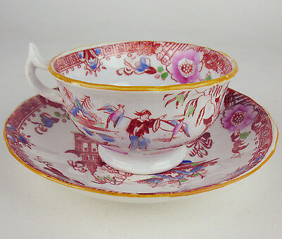 Antique English Cup + Saucer handpainted 19th c 1800's Slamat Chinoiserie #3