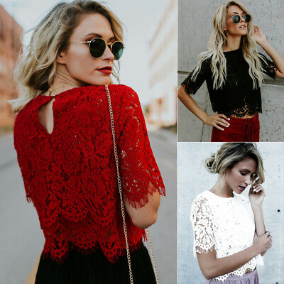 Fashion Women Loose Short Sleeve Tops Blouse Hollow out Lace Casual Tops T-Shirt