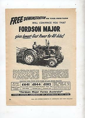 Fordson Major Tractor Advertisement removed from 1953 Farming Magazine