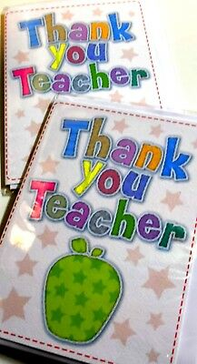 THANK YOU TEACHER CARDS JUST 28p x12, FINE TEXTURED BOARD-WRAPPED, 'STITCHES'
