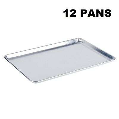 "12 Pack Full Size 19 Gauge Aluminum Bun Pan Sheet Pan Wire in Rim 18"" x 26"""