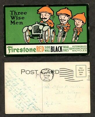 1917 Antique Advertising Postcard Firestone Red Wall Tires Three Wise Men