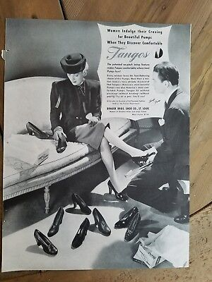 1942 Brauer Bros Shoe Co shoe salesman woman's legs trying shoes ad