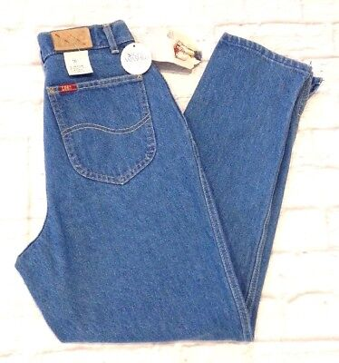 Vtg 80's LEE womens sz 10 Blue Stone Wash High Waist Tapered MOM Jeans nos nwt