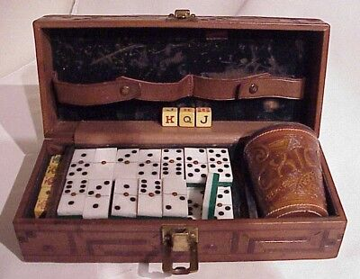 Antique Mexican Tooled Leather Cup Gambling Box Bakelite Dice & Dominoes