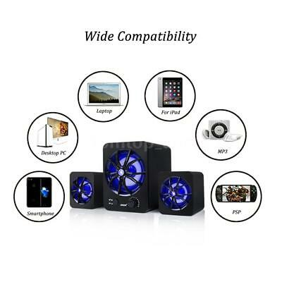 USB Wired LED Computer Speakers Stereo Subwoofer Bass Music For PC Laptop J7Z5