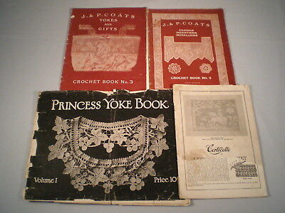 Antique Vtg Crochet Patterns ~Yokes / Medallions / Edging /Gifts ~1920 & Earlier